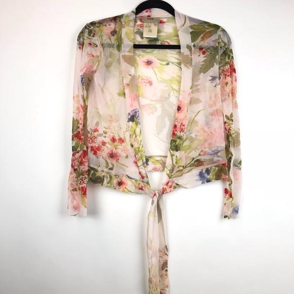 16c4c189094c Fuzzi by Jean Paul Gaultier Mesh Floral Tie Blouse